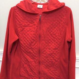 Red Columbia full zip fleece top.